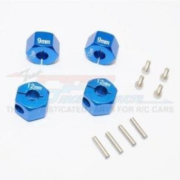 GPM GPM Racing Traxxas 4-Tec 2.0 Blue Aluminum 9mm Thick Wheel Hex Adapters GT010-12X9MM-B
