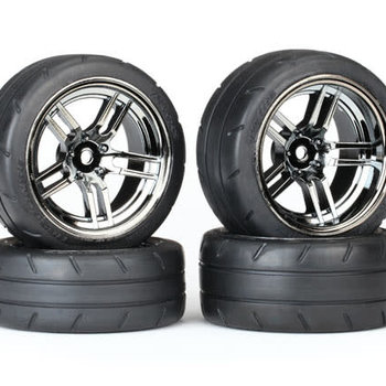 Traxxas Tires & wheels, assembled, glued (split-spoke black chrome wheels, 1.9' Response tires, foam inserts) (front (2), rear (extra wide) (2)) (VXL rated)
