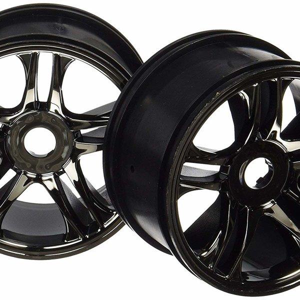 Traxxas 6476 Wheels Split Spoke Black Chrome Rear XO-1 (2)