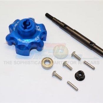 GPM GPM RACING TRAXXAS X-MAXX BLUE ALUMINUM CUSH DRIVE HOUSING W/ SHAFT TXM8035S-B