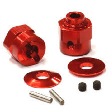 INT C24396RED Hex Wheel Hub Set +5 Offset Wraith (2)