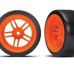 Traxxas Tires and wheels, assembled, glued (split-spoke orange wheels, 1.9' Drift tires) (rear)