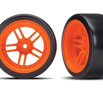 Traxxas Tires and wheels, assembled, glued (split-spoke orange wheels, 1.9' Drift tires) (rear)