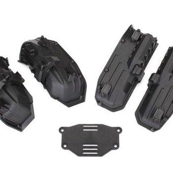 Traxxas Fenders, inner (narrow), front & rear (2 each)/ rock light covers (8)/ battery plate/ 3x8 flathead screws (4)