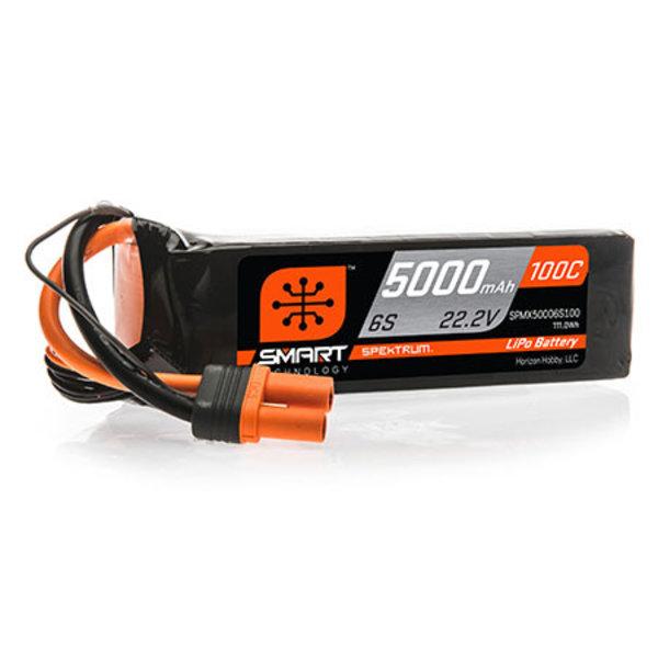 Spektrum 5000mAh 6S 22.2V 100C Smart LiPo Battery; IC5
