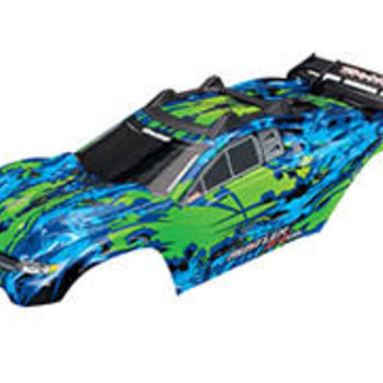 Traxxas Body, Rustler 4X4 VXL, green/ window, grill, lights decal sheet (assembled with front & rear body mounts and rear body support for clipless mounting)