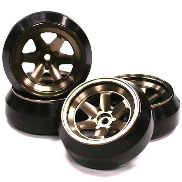 Integy Billet Machined Alloy 6 Spoke Wheel +8 Offset + Drift Tire (4) Set (O.D.=62mm)