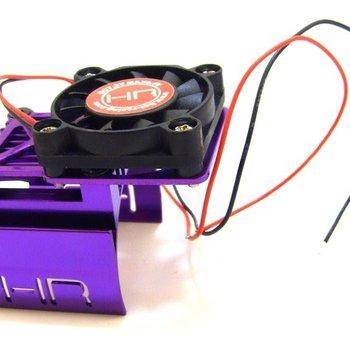 HOT RACING Clip-On Motor Heat Sink W/ Fan and Adjustable Mount (Purple)