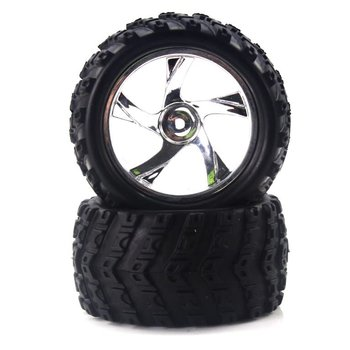Redcat Racing Tire and Chrome Rim for Monster Truck (23626V+28662) 2P