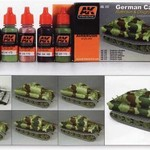 AKI AFV Acrylic Paint Set: German Camouflage Green & Brown Color Modulation Set