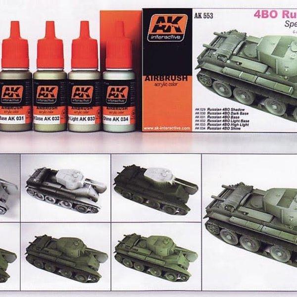AKI AFV Acrylic Paint Set: 4BO Russian Green Color Modulation Set
