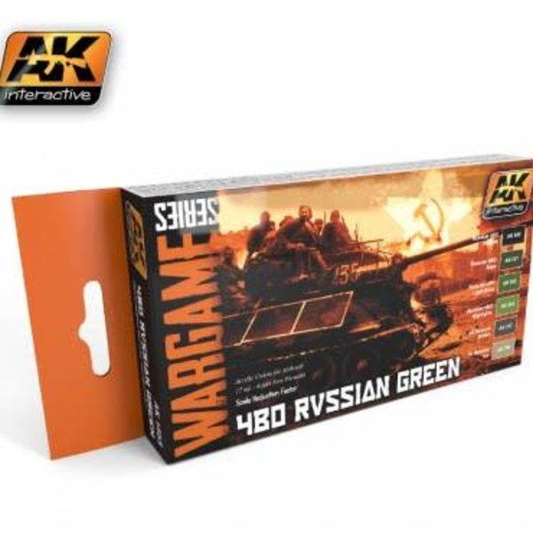 AKI AK Interactive Wargame Series 4Bo Russian Green Modulation & Effects Paint Set
