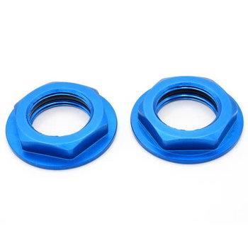 HOT RACING Hot Racing WHM2306F Aluminum Blue Flanged M17 23mm Hex Lock Nut (2)