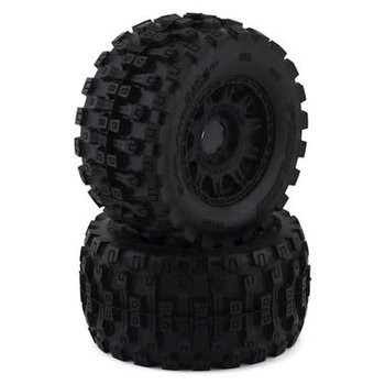 "PROLINE Pro-Line Badlands MX38 HP Belted 3.8"" Pre-Mounted Truck Tires (2) (Black) (M2) w/Raid Wheels"
