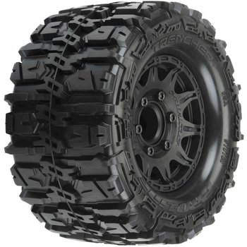 "PROLINE Pro-Line Trencher HP Belted 2.8"" Pre-Mounted Truck Tires (M2) (2) (Black) w/Raid Rear Wheels"
