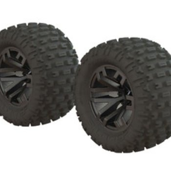 arrma dBoots Fortress MT Tire Set Glued Black Chrome (2)