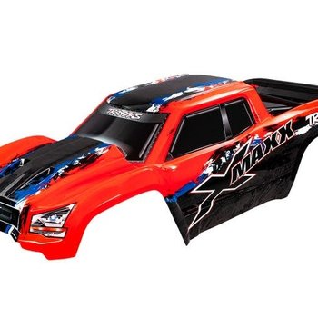 Traxxas Body, X-Maxx®, red (painted, decals applied) (assembled with front & rear body mounts, rear body support, and tailgate protector)(GRD SHIP INC)