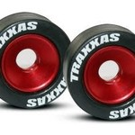 Traxxas 5186 Mntd Wheelie Bar Tires/Whls Red (2)