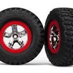 Traxxas 5869 Tires/Whls Assembled Red Beadlock Slash VXL (2)