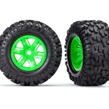 Traxxas Tires & wheels, assembled, glued (X-Maxx green wheels, Maxx AT tires, foam inserts) (left & right) (2)