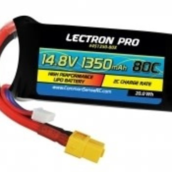 4S1350-80X  Lectron Pro 14.8V 1350mAh 80C Lipo Battery with XT60 Connector for FPV Racers