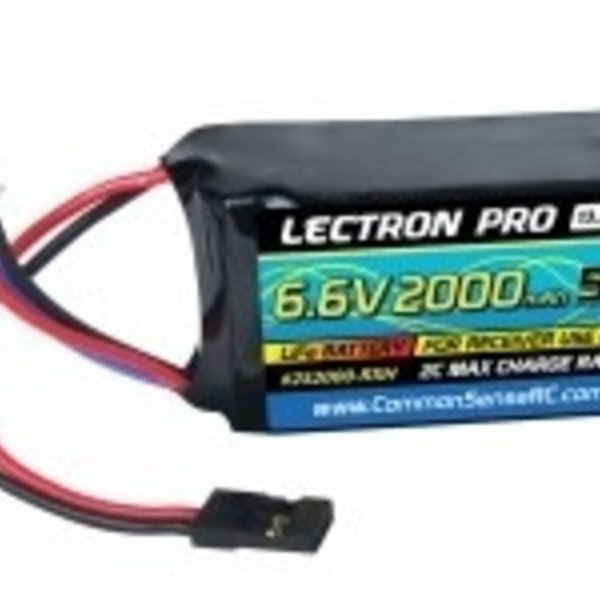 Commonsence RC Lectron Pro 6.6V 2000mAh 5C LiFe Receiver Hump Pack Battery with Servo Connector