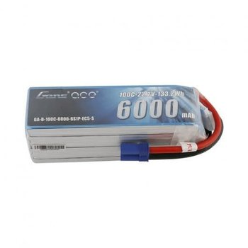 GENSACE Gens ace 6000mAh 22.2V 100C 6S1P Lipo Battery Pack with EC5 Plug-Short size