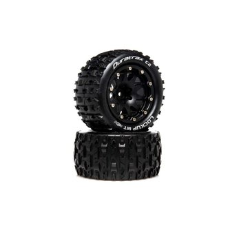 DuraTrax DuraTrax .5 Offset Black Lockup MT Belted 2.8 2WD Mounted Rear Tires (2) DTXC5518