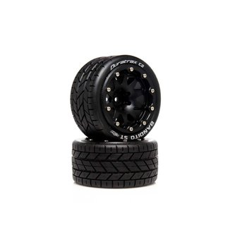 DuraTrax DuraTrax .5 Offset Black Bandito ST Belted 2.8 2WD Mounted Rear Tires (2) DTXC5531