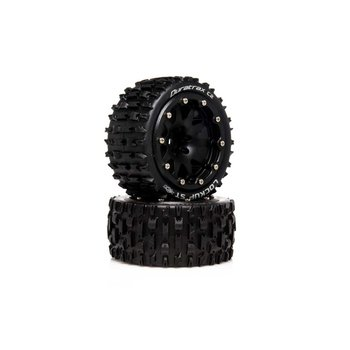 DuraTrax DuraTrax .5 Offset Black Lockup ST Belted 2.8 2WD Mounted Rear Tires (2) DTXC5533