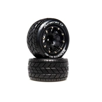 DuraTrax DuraTrax .5 Offset Black Bandito MT Belted 2.8 2WD Mounted Rear Tires (2) DTXC5516