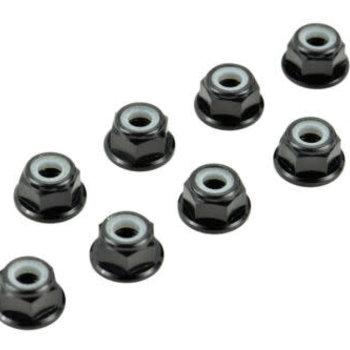 APEX Apex RC Products Black 4mm Aluminum Serrated Nylon Locknut Wheel Nut Set #9800