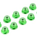 APEX Apex RC Products Green 4mm Aluminum Serrated Nylon Locknut Wheel Nut Set #9802