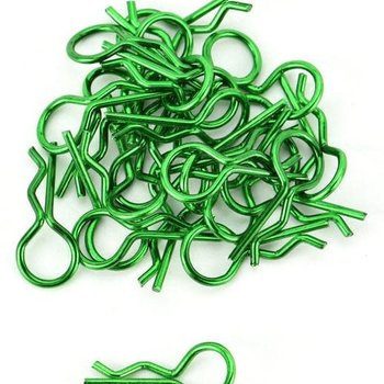 APEX Apex RC Products Green 1/10 Large Bent RC Anodized Body Clips - 25pcs #4031GR