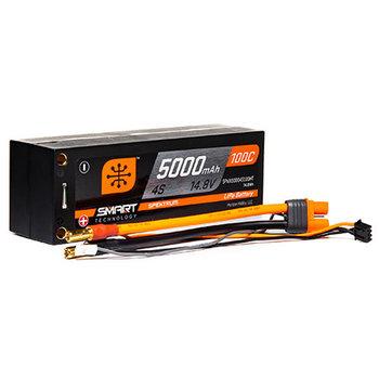 SPECKTRUM 5000mAh 4S 14.8V 100C Smart LiPo Short; 5mm Tubes