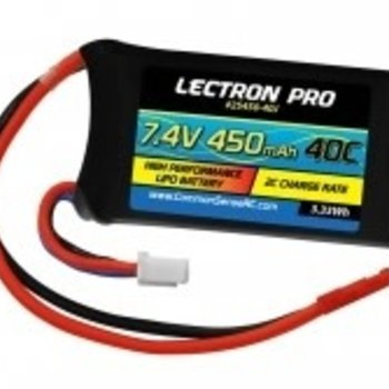 Lectron Pro 7.4V 450mAh 40C Lipo Battery with JST Connector #2S450-40J