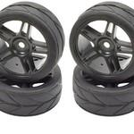 APEX Apex RC Products 1/10 On-Road Black Split 5 Spoke Wheels & V Tread Rubber Tire Set