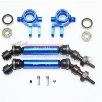GPM GPM Racing Traxxas Rustler 4X4 Blue Front CVD W/ Knuckle Arm Set SSLA1280FH21-B