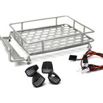 1/10 Scaler Metal Grid Roof Rack, Oval Lights - Silver