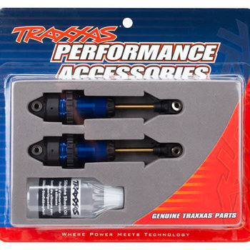 Traxxas Shocks, GTR long blue-anodized, PTFE-coated bodies with TiN shafts (fully assembled, without springs) (2)