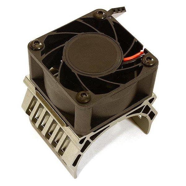 Integy 42mm Motor Heatsink+40x40mm Cooling Fan 17k rpm for Traxxas 1/10 E-Maxx C28606GREY
