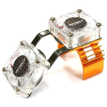 Integy Motor Heatsink + Twin Cooling Fan for HPI 1/10 Blitz T6666ORANGE