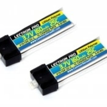 Commonsence RC Lectron Pro 3.7V 160mAh 25C Lipo Battery 2-Pack with Micro Connector for Blade mCX, mSR, and mSR X
