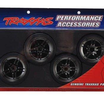 Traxxas Tires and wheels, assembled, glued (split-spoke black chrome wheels, 1.9' Drift tires) (front and rear)
