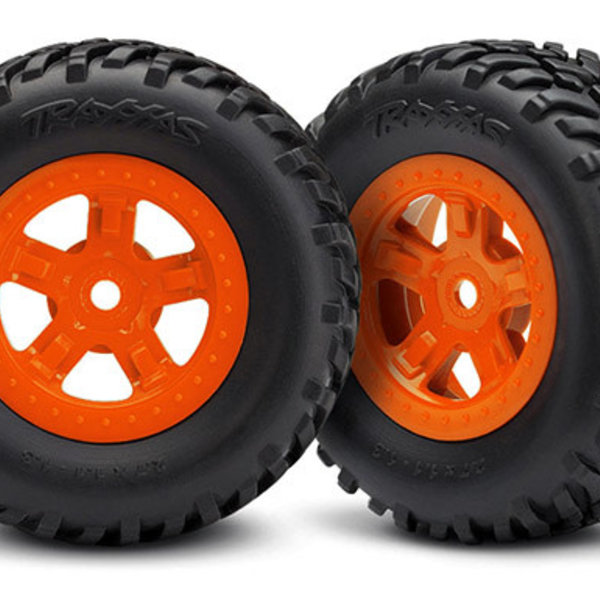 Traxxas 7674A Tires/Wheels Assembled Glued SCT Orange