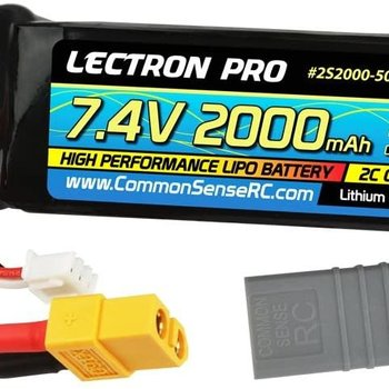 Commonsence RC Lectron Pro 7.4V 2000mAh 50C Lipo Battery with XT60 Connector + CSRC Adapter for XT60 Batteries to Popular RC Vehicles for 1/16 and 1/18 Scale Cars and Trucks