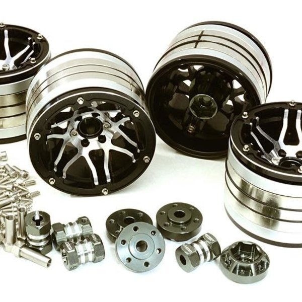 Integy 2.2x1.75-in. Machined High Mass Wheel (4) w/14mm Offset Hubs for 1/10 Crawler C27036BLACK