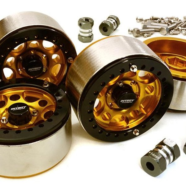 Integy 1.9 Size Machined High Mass Wheel (4) w/14mm Offset Hubs for 1/10 Scale Crawler C27030GOLD