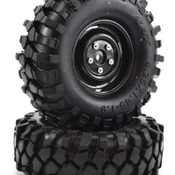 "APEX RC PRODUCTS 1.9"" BLACK ""K1"" WHEELS + 108MM ""MUNCHER"" CRAWLER TIRES #6150"