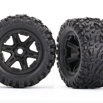 Traxxas Tires & wheels, assembled, glued (black wheels, Talon EXT tires, foam inserts) (2) (17mm splined) (TSM rated)(GRD SHIP INC)